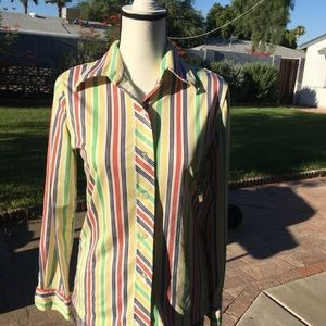 Tops - Vintage button down rainbow stripe long sleeve top
